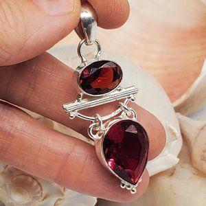 Natural Red Quartz Silver Pendant